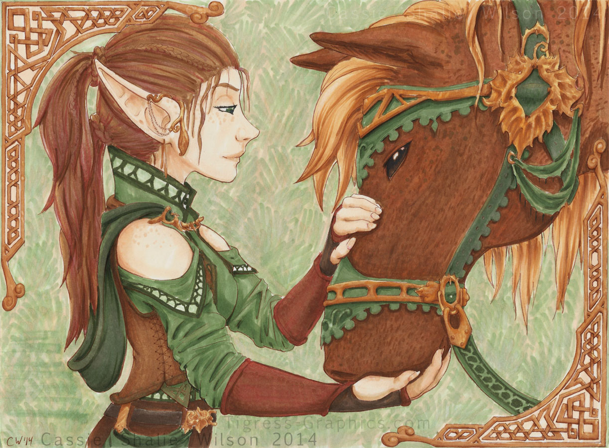 <B>A girl and her horse</B><BR />Copic Markers